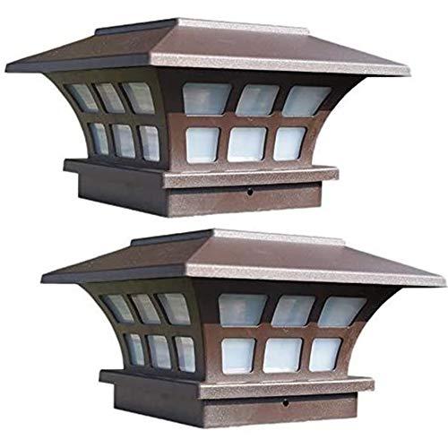 Huachaoxiang 2 Pack Solar Pfosten Beleuchtet wasserdichte Kappen Lichter Im Freien Für Lzerne Oder Vinyl Pfosten Plattform LED Lichter,Braun
