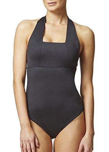 schlankmachender Damen-Badeanzug mit Trägern und Bauch-Weg-Effekt Gr. 46, schwarz