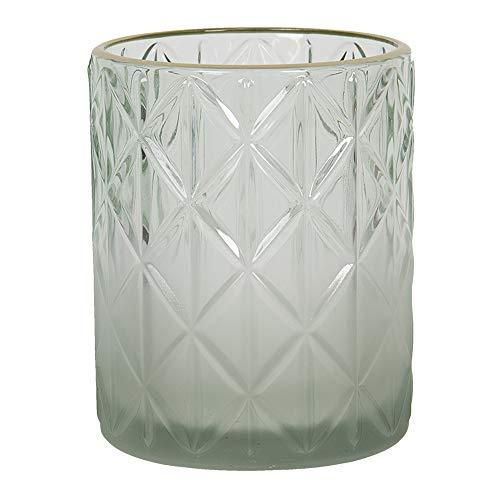 Clayre & Eef Glazen Theelichthouder 6GL2918L Ø 10 * 12 cm - Groen Glas Waxinelichthouder Windlichthouder
