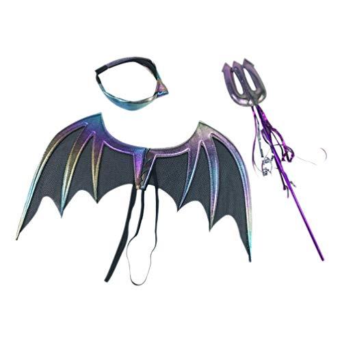 KESYOO 1 Satz Halloween Kostüm Anzug Teufel Fledermaus Flügel Dekor Lila Gabel Rod Ornament