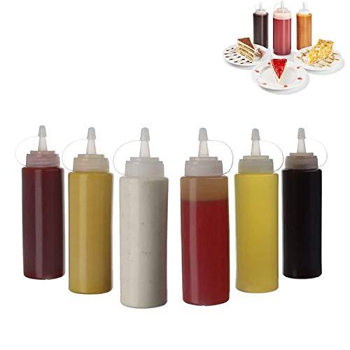 HENJI Botella de Salsa, 6 pcs 8oz condimento Botellas Utilizado para Tapas para Salsa BBQ Aceite de Oliva Ketchup Mostaza mayonesa Salsa Picante aderezo de Ensalada