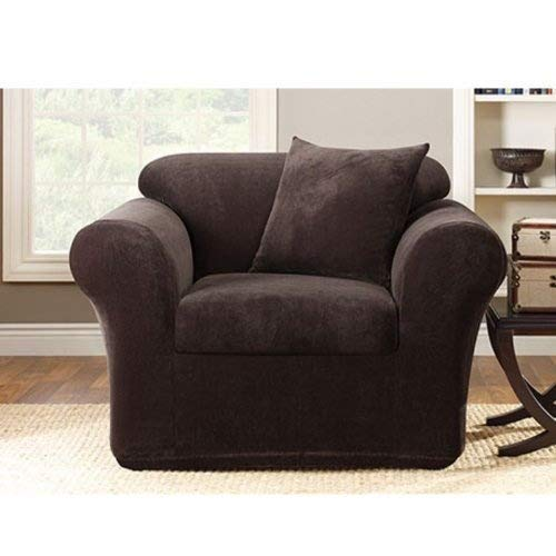 Sure Fit Stretch Metro 2-Piece - Chair Slipcover - Espresso (SF39417)