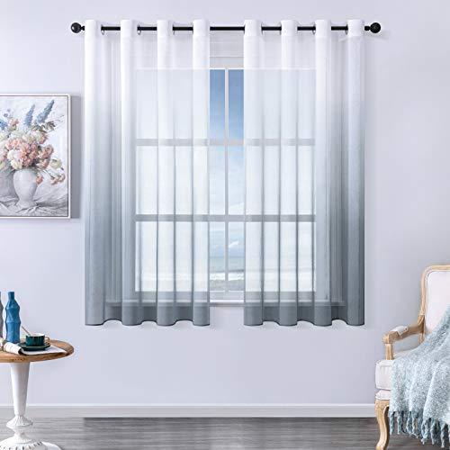 MRTREES Voile Gardinen Farbverlauf Leinenoptik Transparent Vorhang Kurz Tüllvorhang mit Ösen Grau 160×140cm (H×B) Modern für Dekoration Kinderzimmer Wohnzimmer Schlafzimmer 2er-Set