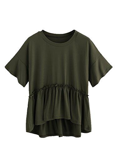Romwe Women's Loose Ruffle Hem Short Sleeve High Low Peplum Blouse Top Army Green M