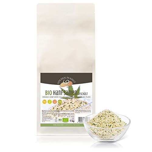 Hanf Samen geschält BIO 1kg | Herkunft Europa | Omega 3+6, glutenfrei, vegan cholesterinfrei | Golden Peanut