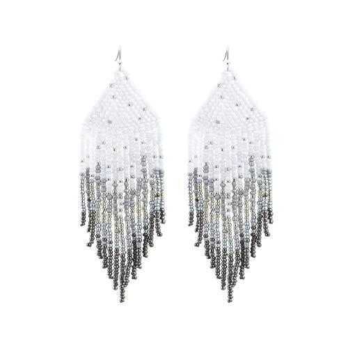 PLTGOOD Boho Tassel Dangle Earrings for Women – Handmade Miyuki Delica Seed Beads Earrings Long Statement Earrings Jewelry