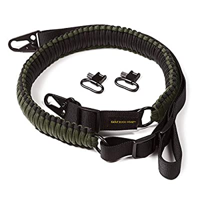 Eagle Rock Gear 550 Paracord 2 Point Gun Sling for Rifles, Shotguns, Crossbows, Airsoft - with Easy Adjustable Strap, HK Clips, Swivels - US Patent Pending (Black and Army Green)