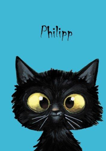 Philipp: Personalisiertes Notizbuch, DIN A5, 80 blanko Seiten mit kleiner Katze auf jeder rechten unteren Seite. Durch Vornamen auf dem Cover, eine ... Coverfinish. Über 2500 Namen bereits verf