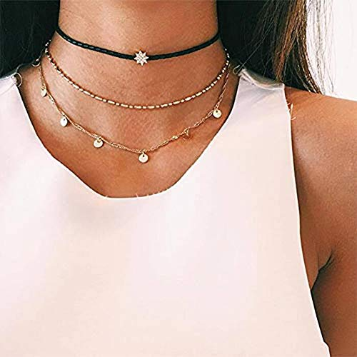 Anglacesmade Bohemia Layered Choker Necklace Star Choker Gold Disc Necklace Star Coin Disc Charm Pendant Necklace Delicate Station Chain for Women and Girls