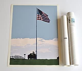 Flag at Fort Williams, Portland Head Light Print (18x24 Giclee Poster, Wall Decor Art)