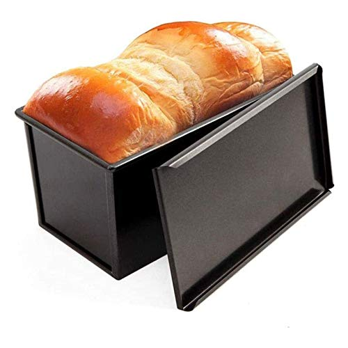 SFLRW Loaf Pan with Lid, Non-Stick Bakeware Carbon Steel Bread Toast Mold with Cover for Baking Bread – BLack