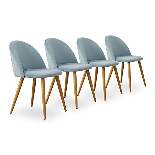 CLIPOP - Juego de 4 sillas de Comedor de Terciopelo con Respaldo y Patas de Metal Resistente de Estilo de Madera para salón, Sala de Estar, Cocina, Oficina y Restaurante, Azul Claro, 46 * 46 * 77 CM