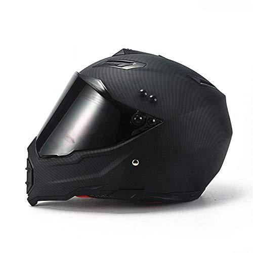 Claean-Acces-Home Fahrradhelm Licht Mate schwarz Dual Sport Offroad Motorradhelm Dirt Bike (M Blau) Vollgesicht-ABS-Materialkamerad_XXL