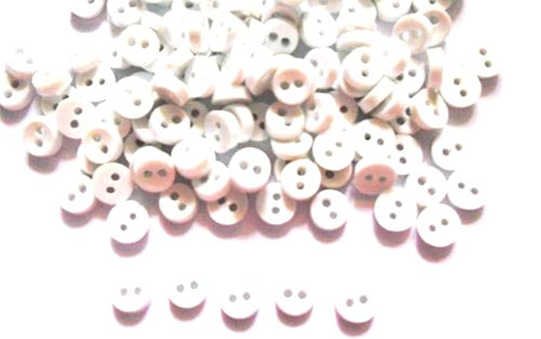 100 Pcs Tiny Button, Micro Button 2hole Size 6 Mm White