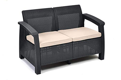 Keter Corfu 2 Seater Rattan Effect Sofa Outdoor Garden Furniture - Graphite with Cream Cushions