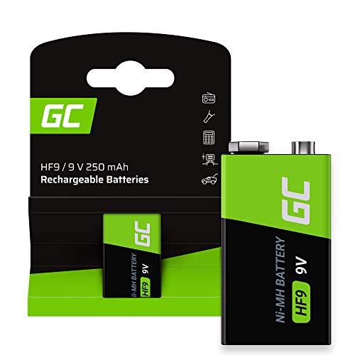 Green Cell 250 mAh, 9 V, 1 pz., batterie NI-MH da 9 V – Batterie a batteria HF9 9 V, pronte all'uso, bassa autoscarica, batteria ricaricabile, senza effetto memoria
