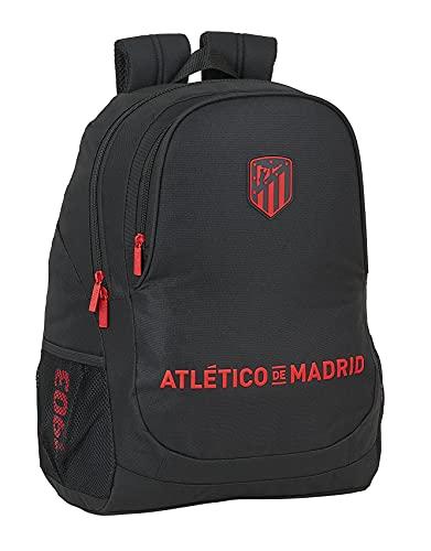 Safta Mochila Escolar de Atlético de Madrid Corporativa, 320x150x420 mm, Negro