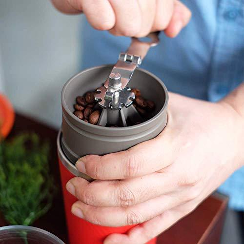カフラーノ Cafflano コーヒーメーカー ハンドドリップ コーヒーミル 粗細調節可 ペーパーレスフィルター マグカップ付 レッド 9×9×19.5cm オールインワン CK-RD