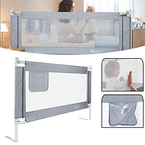 UISEBRT Kinder Bettgitter Bettschutzgitter 150cm - Höhenverstellbar Kinderbettgitter für Familienbett und Kinderbett, Rausfallschutz für Bett, Grau