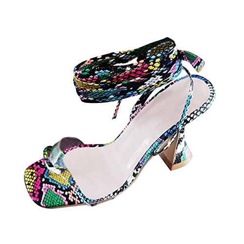 RTPR Sandalias de mujer con tiras para mujer, sandalias de verano con diseño de serpiente y correa de dedo del pie con tacón alto, sandalias de tacón alto para mujer, multicolor, 42 EU
