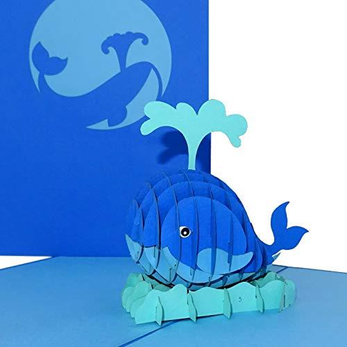 """3D Geburtstagskarte """"Wal – König der Meere"""" - große Pop Up Karte mit Umschlag als Grußkarte, Einladung, Deko, Geschenkidee & lustige Einladungskarte zum Angeln & für Angler"""