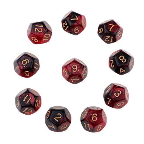 Homyl 10pcs 12 Seitige W12 D12 Dice Spiele Würfel Spielwürfel Set - Rot + Schwarz