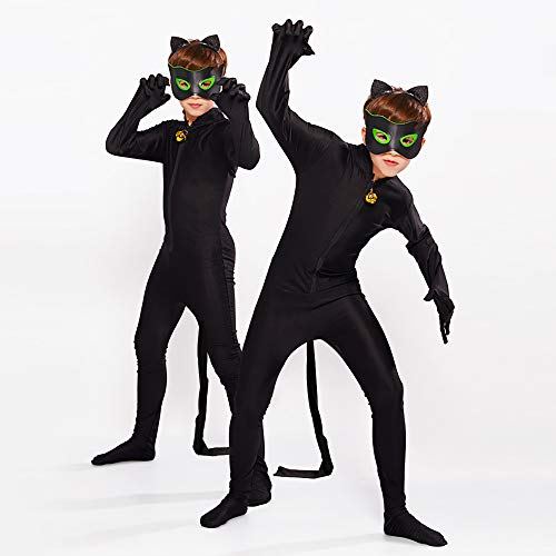 albright Kids Festlich Jumpsuit Cat Noir Kostüm Set, Kinder Cartoon Jumpsuit für Halloween Karneval Weihnachten Cosplay Fasching Party 110/116