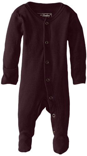 L'ovedbaby Unisex-Baby Organic Cotton Footed Overall, Eggplant, NB/Preemie (4-7 lbs.)