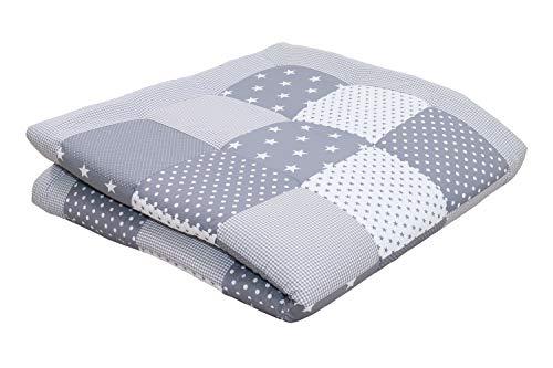 ULLENBOOM ® Baby Krabbeldecke 140x140 cm gepolstert Graue Sterne (Made in EU) - Krabbeldecke für Baby mit 100% ÖkoTex Baumwolle, ideal als Babydecke & Spieldecke