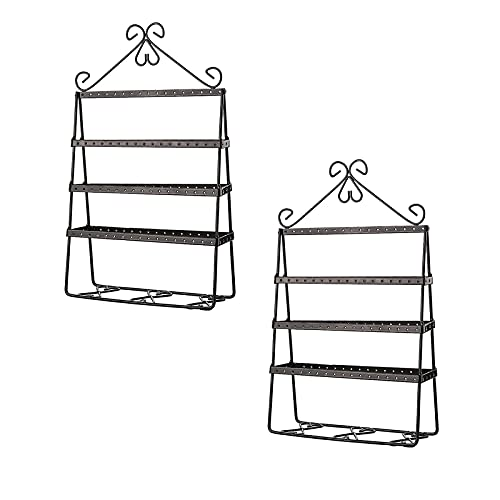 Honton 2 soportes de exhibición de joyería PSC Metal colgante joyería organizador de mesa collar sostenedor joyería colgante exhibición para collares, pulseras, pendientes, anillos (negro)