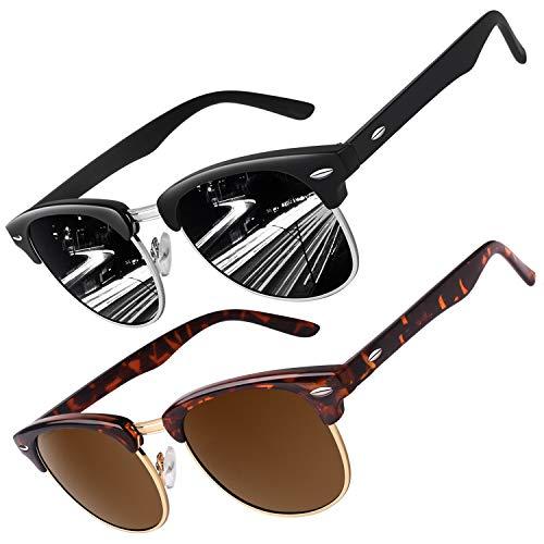 CGID Gafas de sol polarizadas retro medio marco clásico para Hombre y Mujer MJ56,Paquete de 2