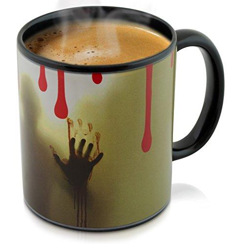 Grinscard Keramik Tasse mit Thermoeffekt - Jack The Ripper Design ca. 0,3l - Grusel Kaffeetasse zum Verschenken