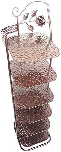 WLGQ Gabinete de Zapatos a Prueba de Polvo Zapateros de Metal de 6 Niveles, Organizador de Almacenamiento de pie para Botas Entrada de balcón Entrada de Esquina, 28 * 25 * 93 cm (Color: Bronce)