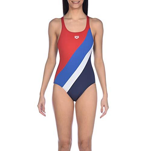 ARENA vrouwen Diagonale Streep Zwemmen Pro Terug Maxlife Een Stuk Badpak, Navy-Rood-Royal, 30