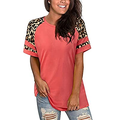 OUGES Womens Summer Tops Color Block T Shirts S...