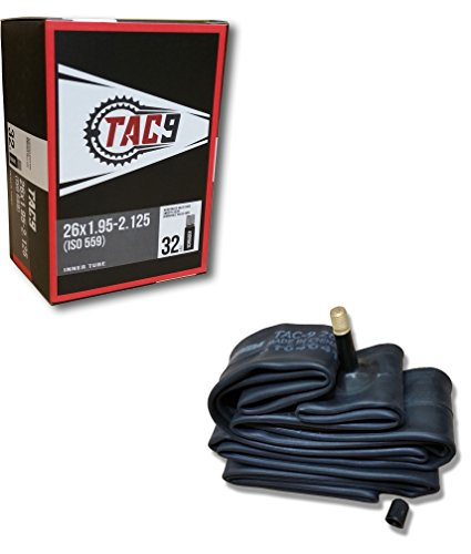 """TAC 9 Bike Tubes, 26 x 1.95-2.125"""" Regular Valve 32mm - ONE Tube ONLY Bundle"""