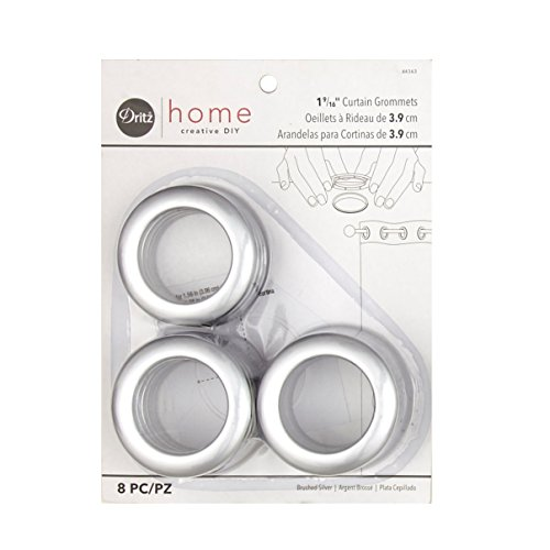 Dritz NR-704 Curtain Grommets 8 Pack Brushed Silver 1-9/16in, 8