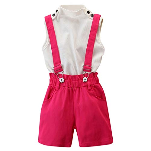 Wide.ling Peuter Baby Meisjes Mouwloos Coltrui Tops Shirts + Suspender Shorts Broek 2 Stks Overalls Outfits Sets