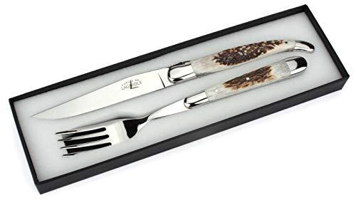 Forge de Laguiole - Steakbesteck - Griff Hirschhorn - Besteck Set Frankreich Steakmesser und Gabel - Stahl hochglanz