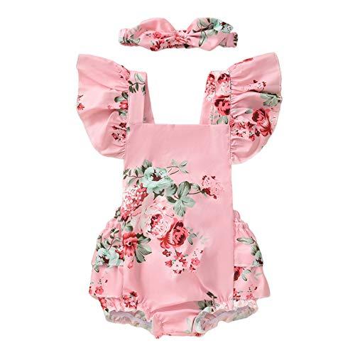 sunnymi Pelele para bebé de 0 a 12 meses, con volantes y cinta para la cabeza Rosa. 6-9 Meses