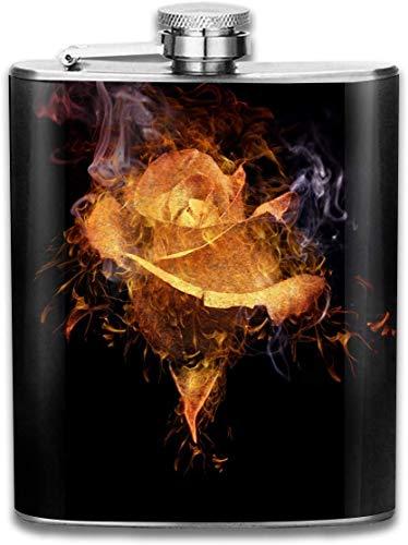 Presock flaschen für schnaps, brennende flamme rose mode tragbare edelstahl flachmann whisky flasche für männer und frauen 7 oz