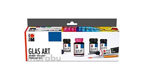 Marabu 1302000000088 - Glas Art Starter Set, brillante Glasfarbe mit feinem, fließendem Verlauf, intensive Leuchtkraft, für Glas, Porzellan und Acylglas, 4 x 15 ml Farbe, 20 ml Reliefpaste und Pinsel