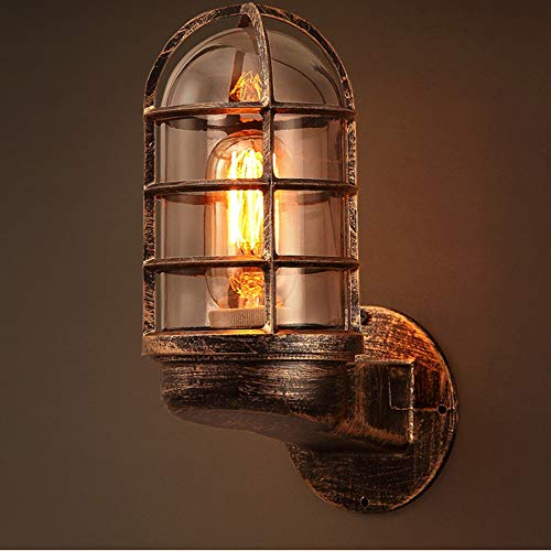 Wandlamp binnen/buiten, vintage, industrieel, ijzer, retro, loft, wandlamp, voor restaurant, slaapkamer, hal, restaurant, E27