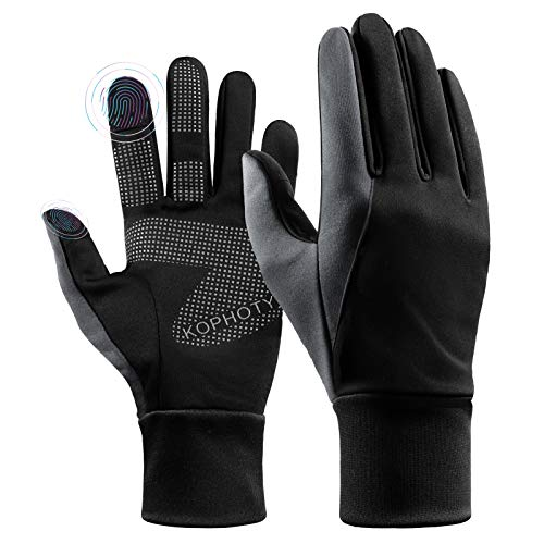 KOPHOTY Womens Mens Gloves Winter,Touchscreen Water Resistant Gloves,Warm Thermal Gloves for Running Driving Cycling Texting Hiking (Grey,L)