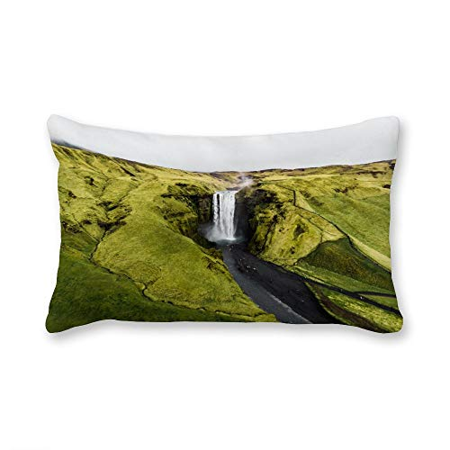 TattyaKoushi Satin Pillow Covers for Hair and Skin, Skógafoss Best Iceland Waterfalls Pillow Case Cover 12 x 20 Inch for Bedroom Funny Housewarming Gift