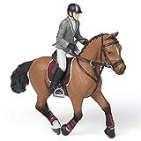 Papo- Cheval de Concours et Son Cavalier, POULAINS ET PONEYS Figurine, 51561, Multicolore