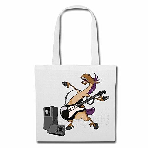 Tasche Umhängetasche Pferd MIT E Gitarre Techno Jazz Funky Soul Trance Festival House Hiphop HIP HOP DJ Einkaufstasche Schulbeutel Turnbeutel in Weiß