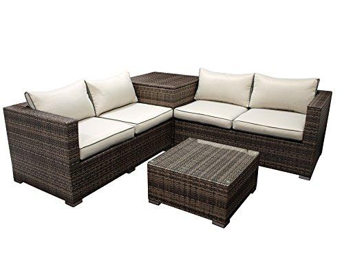 DEGAMO Loungeset CAVOLI, hoekgroep met geïntegreerde kussenbox, aluminium + vlechtwerk grijs/bruin, glazen tafel