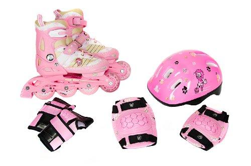 FA Sports Kinder Inline-Skates Set Gears, rosa, weiß, creme, schwarz, S, 948