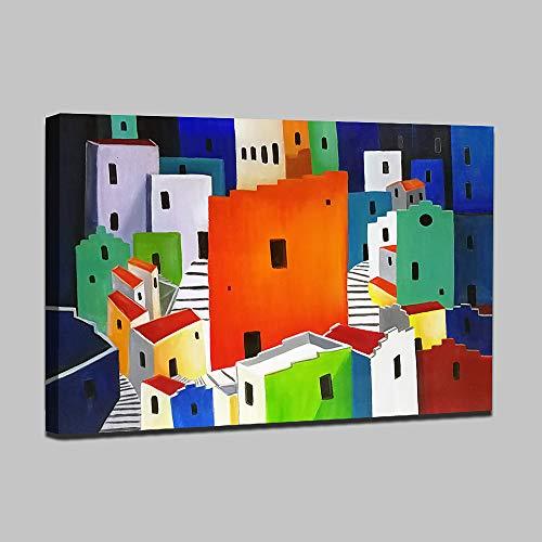 HIMAmonkey 100% Pintura Al óLeo Pintado A Mano Cuadros Abstractos Modernos Ola Arte de Pared sobre Lienzo Estirada y Enmarcado decoración Listo para Colgar,32'*48'(80 * 120cm)